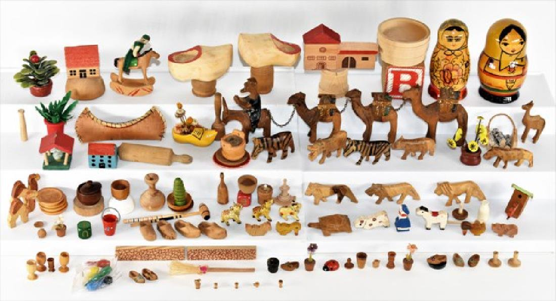 Large Group of Wood Dollhouse Accessories Miniatures