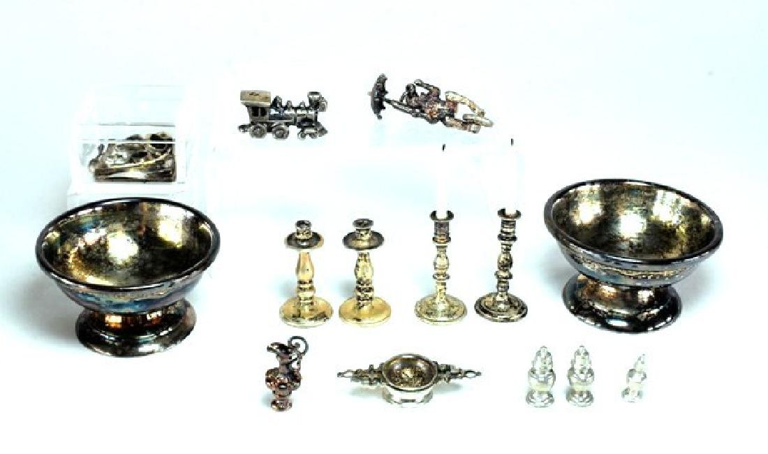 Unsigned Pewter or Silver Accessories for Dollhouse