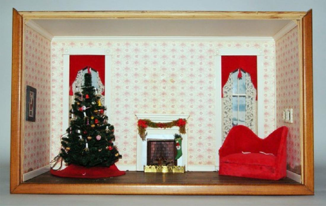 Christmas Parlor Dollhouse Room Box