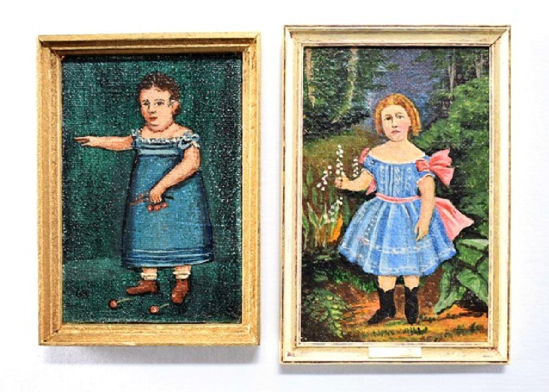 George Schlosser Two Children's Portraits for Dollhouse