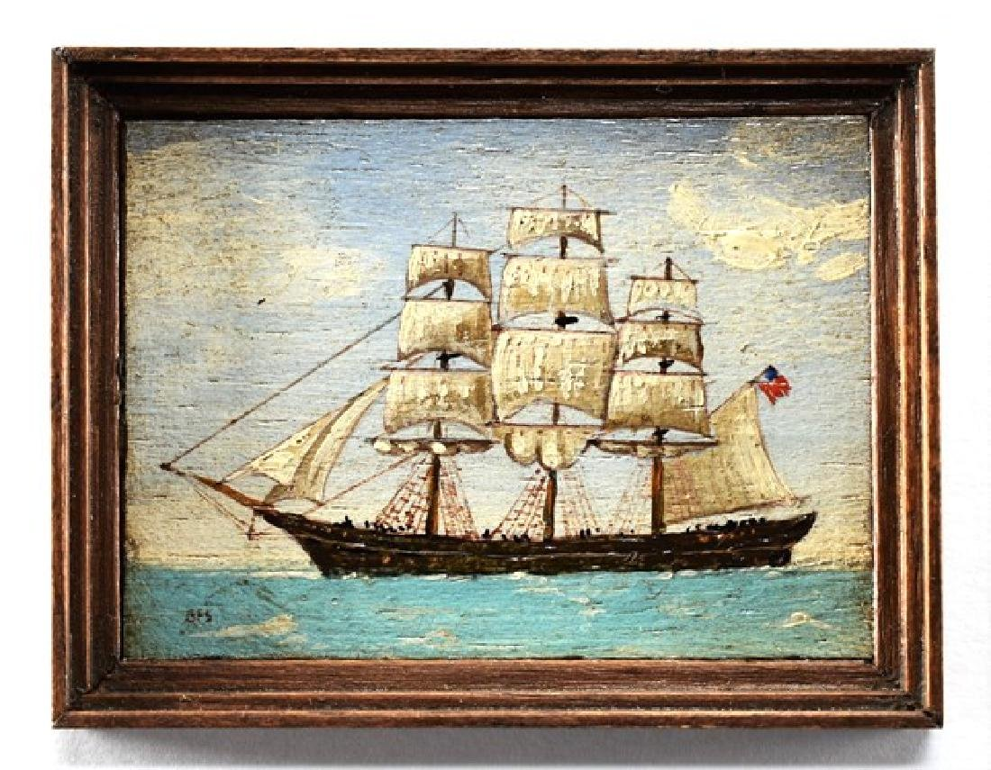 George Schlosser Sailing Ship Painting for Dollhouse