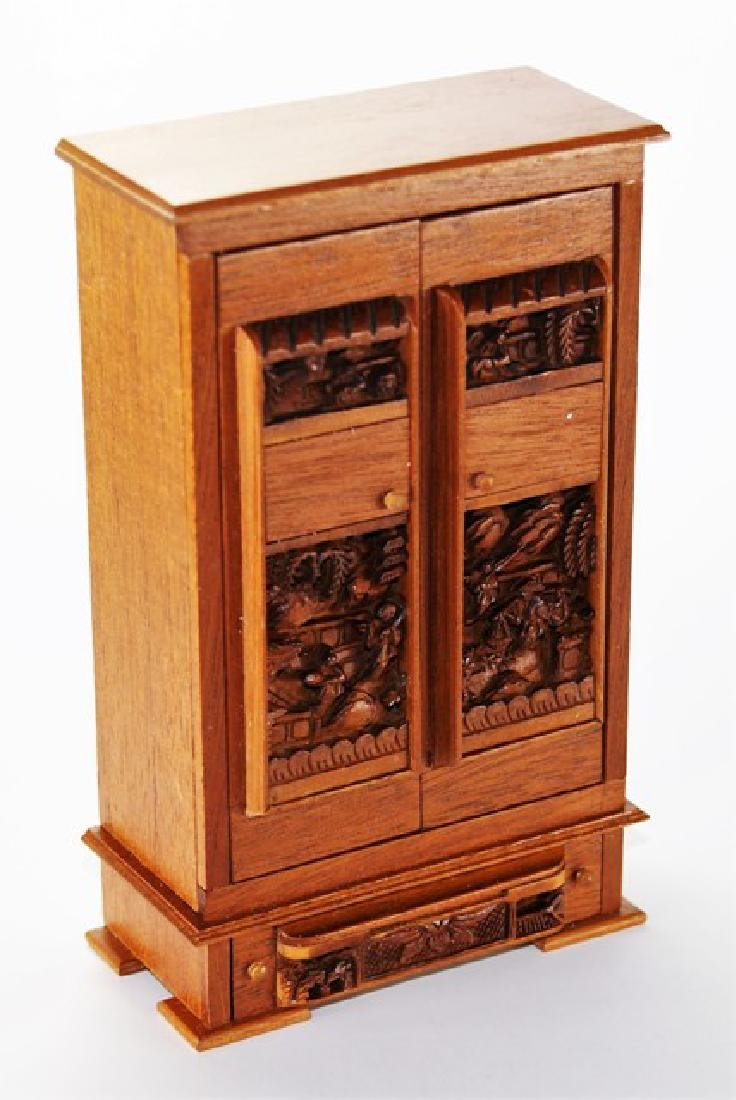 Petite Antiquary Chinoiserie Armoire for Dollhouse