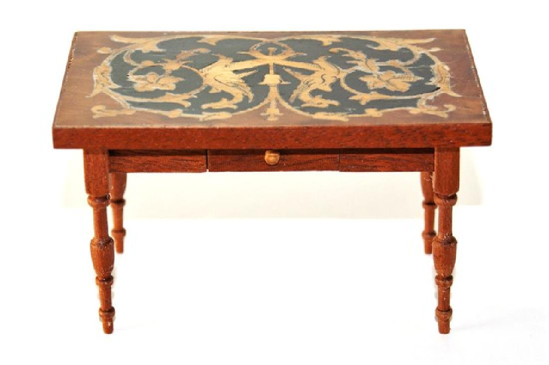 Petite Antiquary French Marquetry Table for Dollhouse - 2