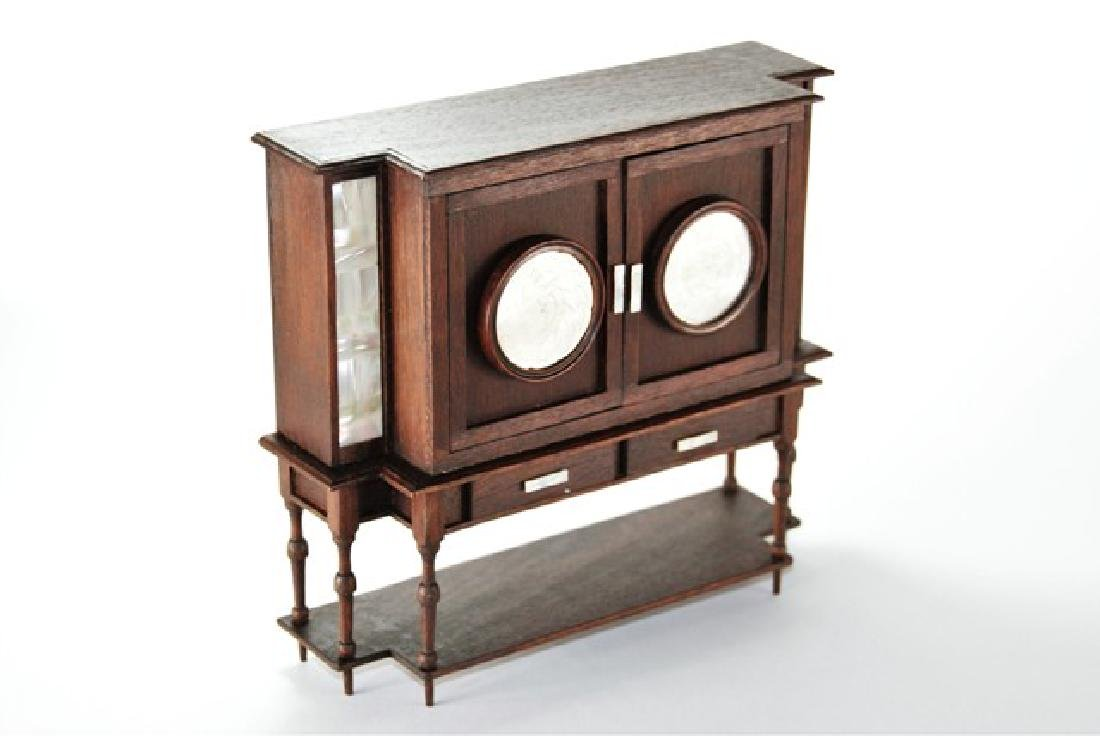 Petite Antiquary Inlaid Cabinet for Dollhouse Miniature - 2