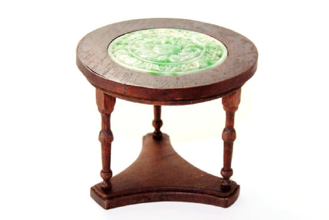 Petite Antiquary Jade Top Table For Dollhouse Miniature