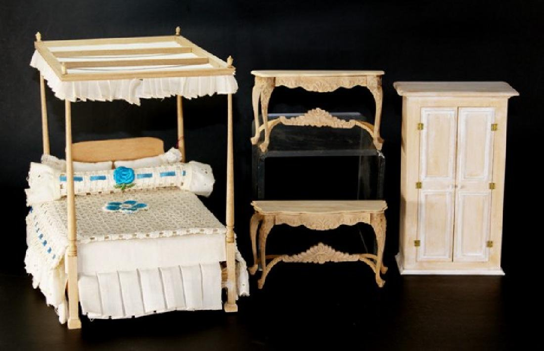 Unpainted Bespaq Bed & Furniture for Dollhouse