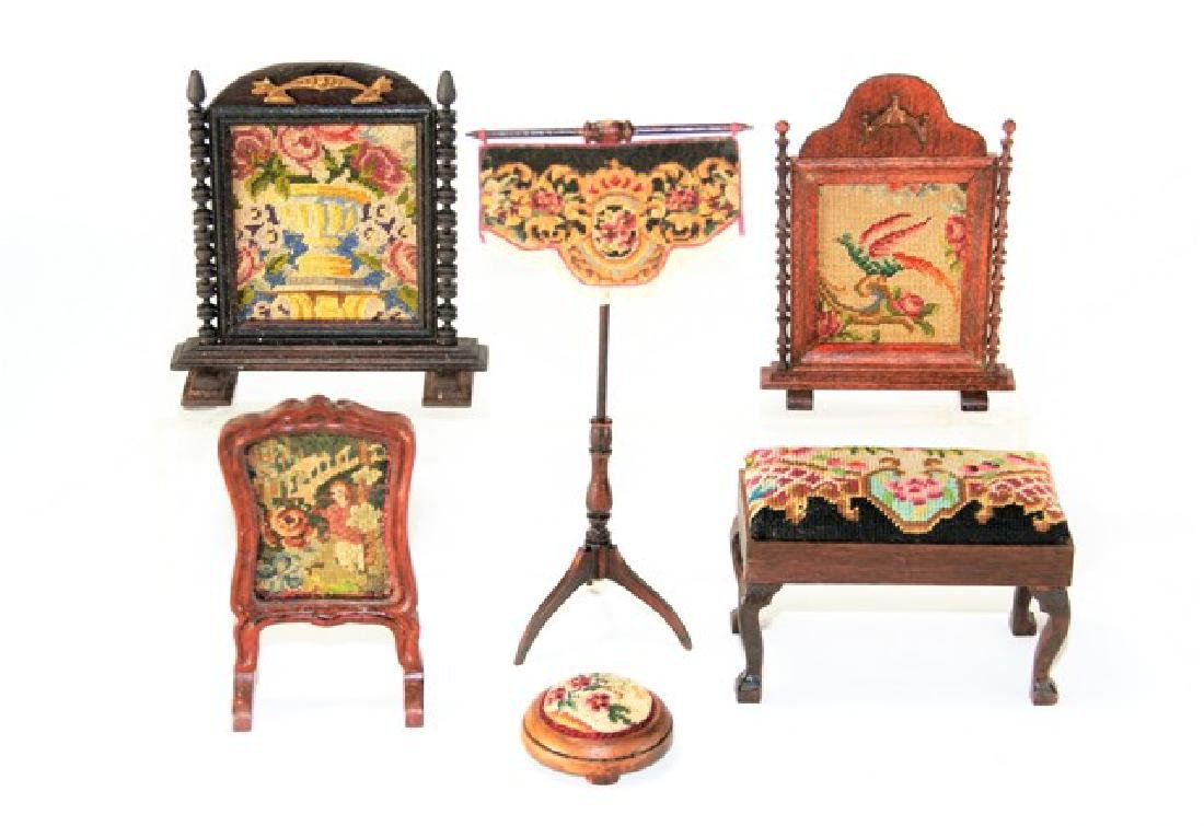Artisan Petit Point Furniture for Dollhouse Miniatures
