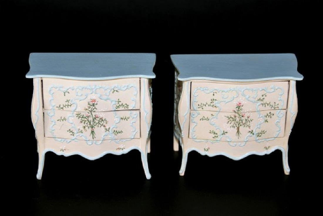 Pair Jean Jakeway painted Bombe Dressers for Dollhouse