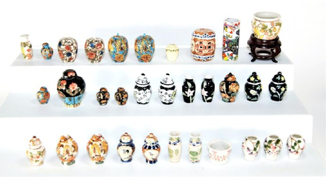 Large Group of Asian Urns & Vases for Dollhouse