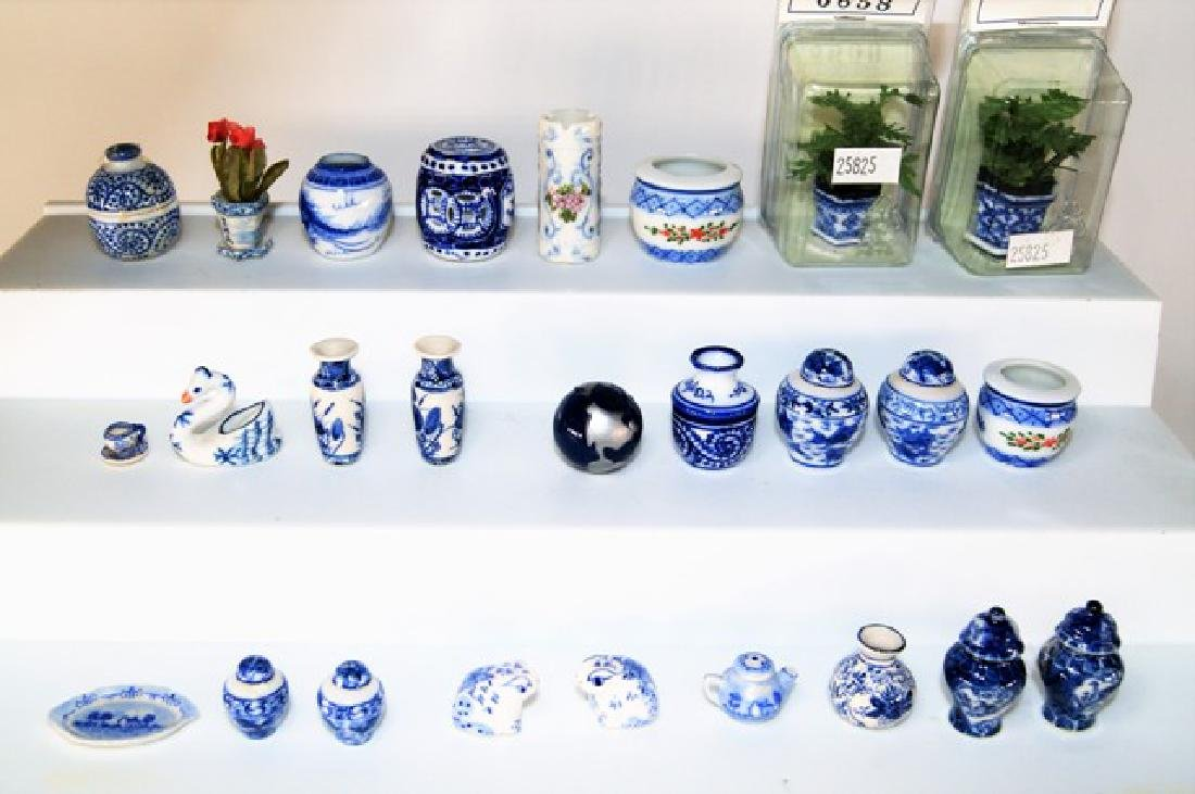 Large Group of Blue & White Dollhouse China Miniatures