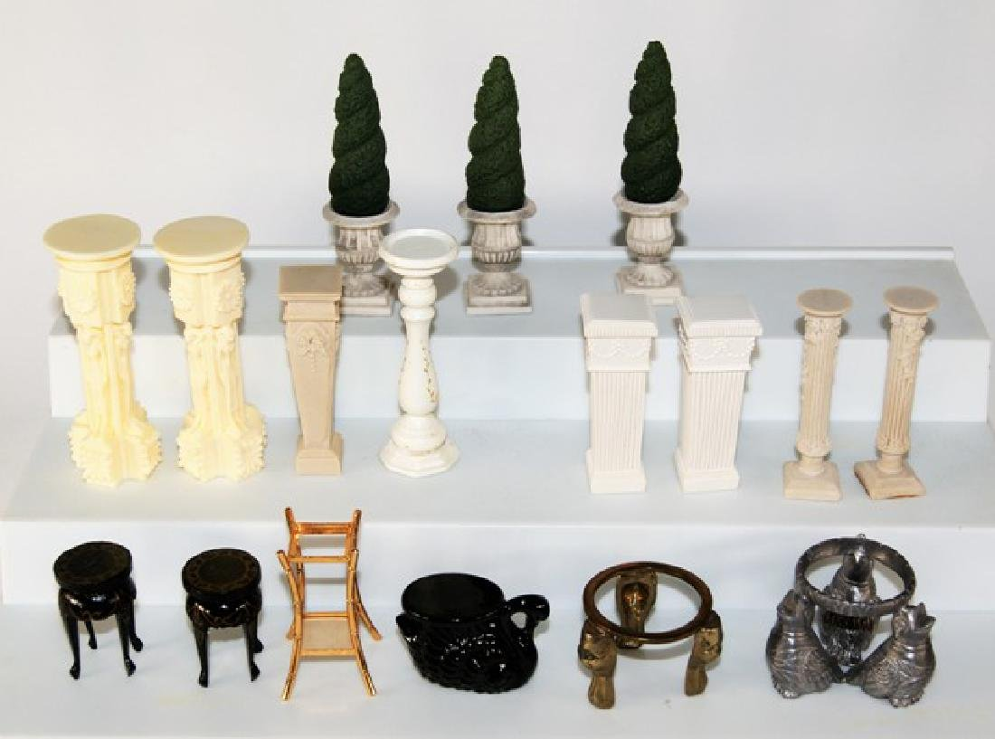 Large Group of Topiaries & Pedestals for Dollhouse