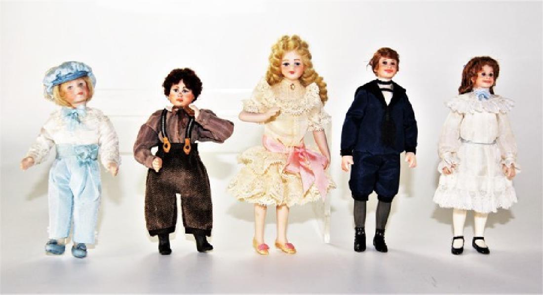 Five Artisan Dollhouse Children Dolls Miniatures
