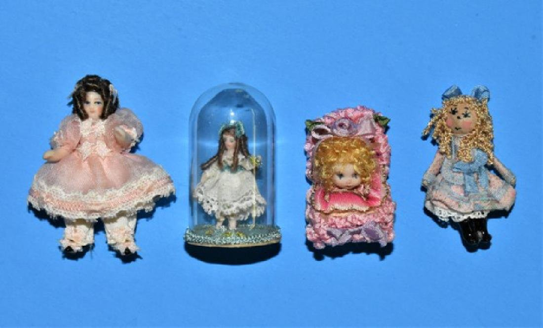 Four Artisan Dollhouse Dolls Miniatures