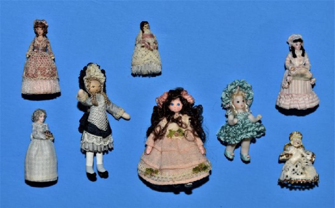 Eight Artisan Small Dollhouse Dolls Miniatures