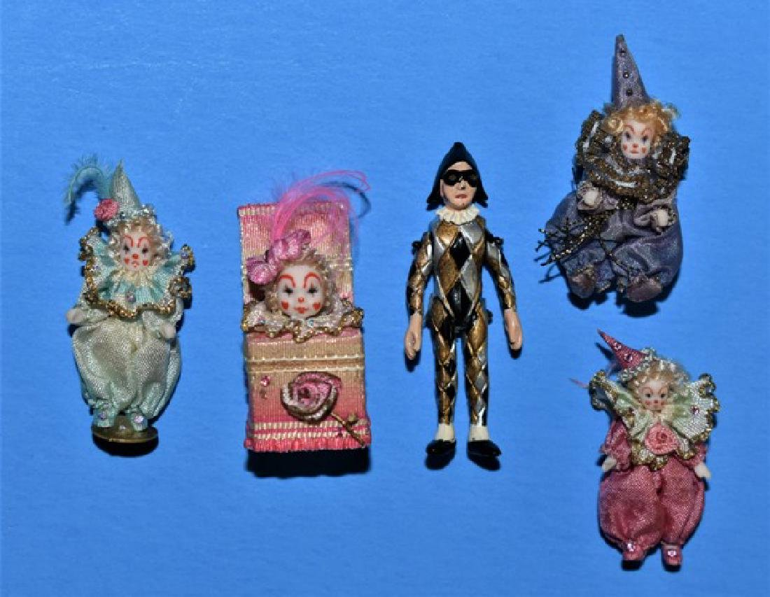 Five Artisan Dollhouse Clown Dolls Miniatures