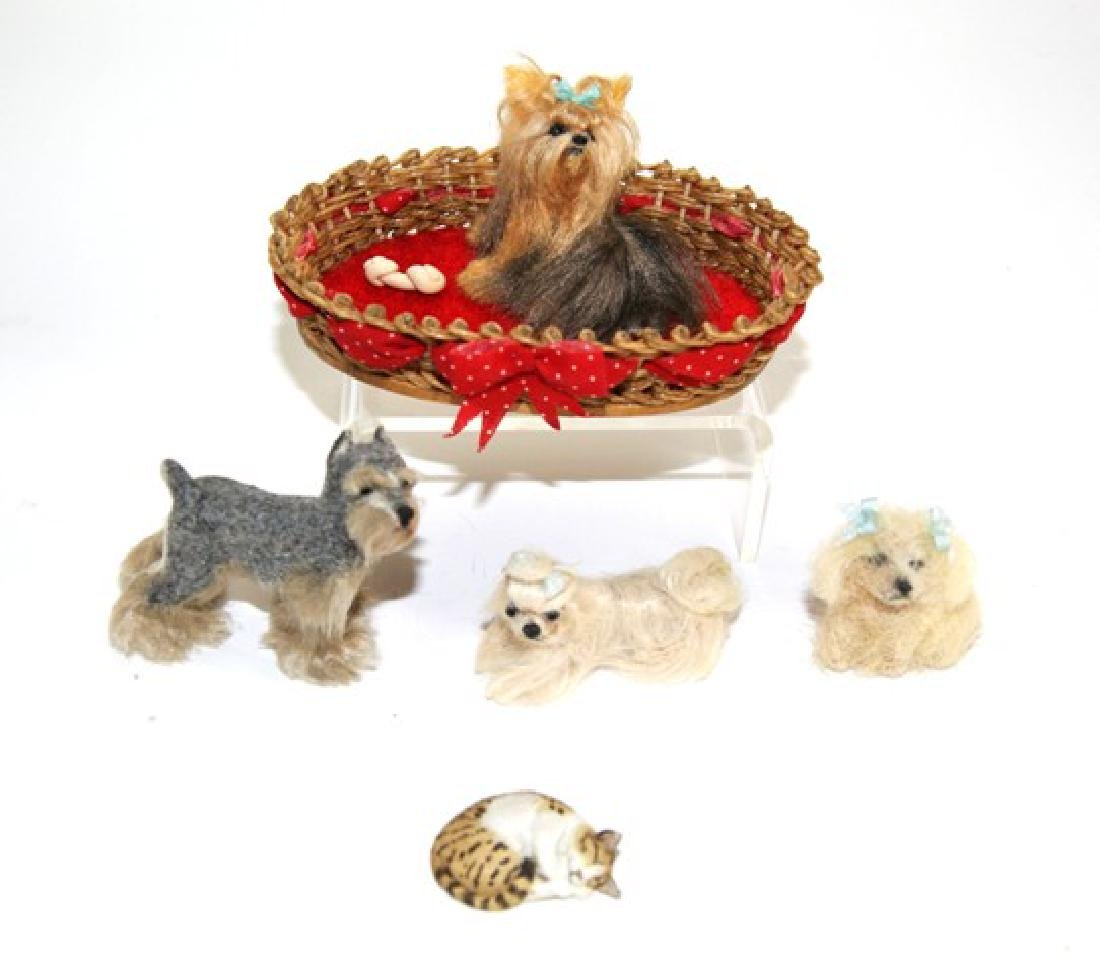 Four Ellen Poitras Artisan Dollhouse Dogs Miniatures