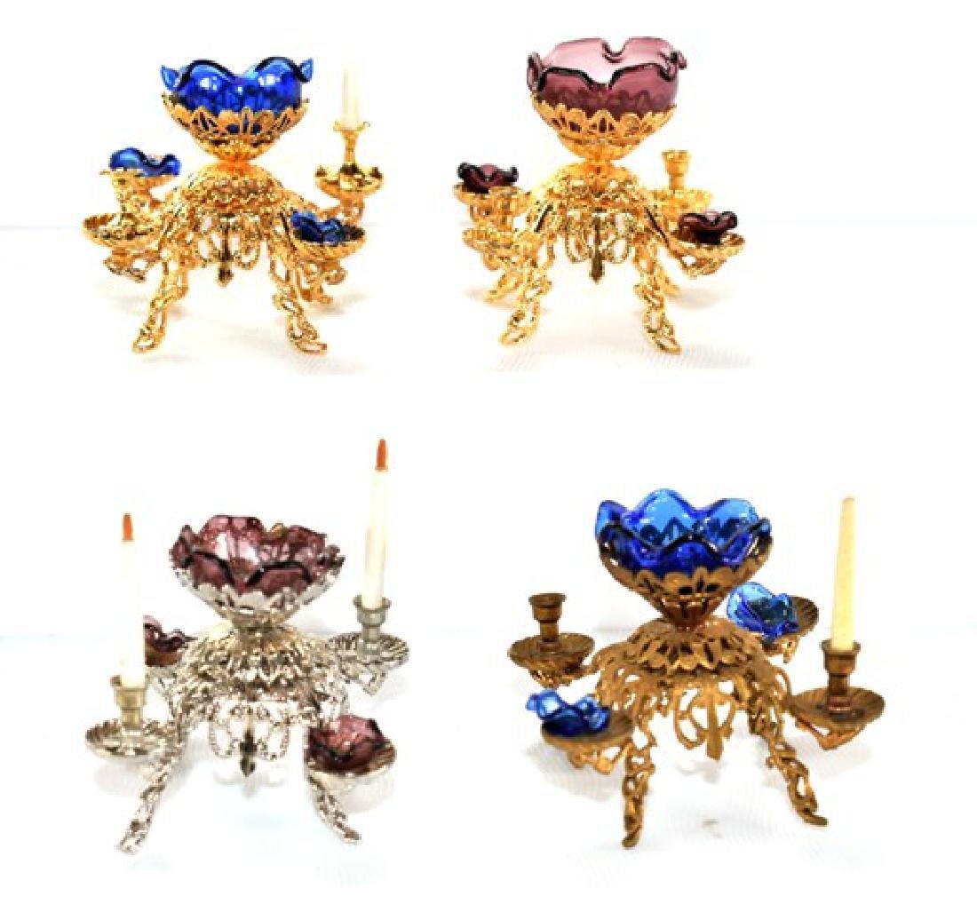 Four Ellen Blauer Dollhouse Epergnes Miniatures