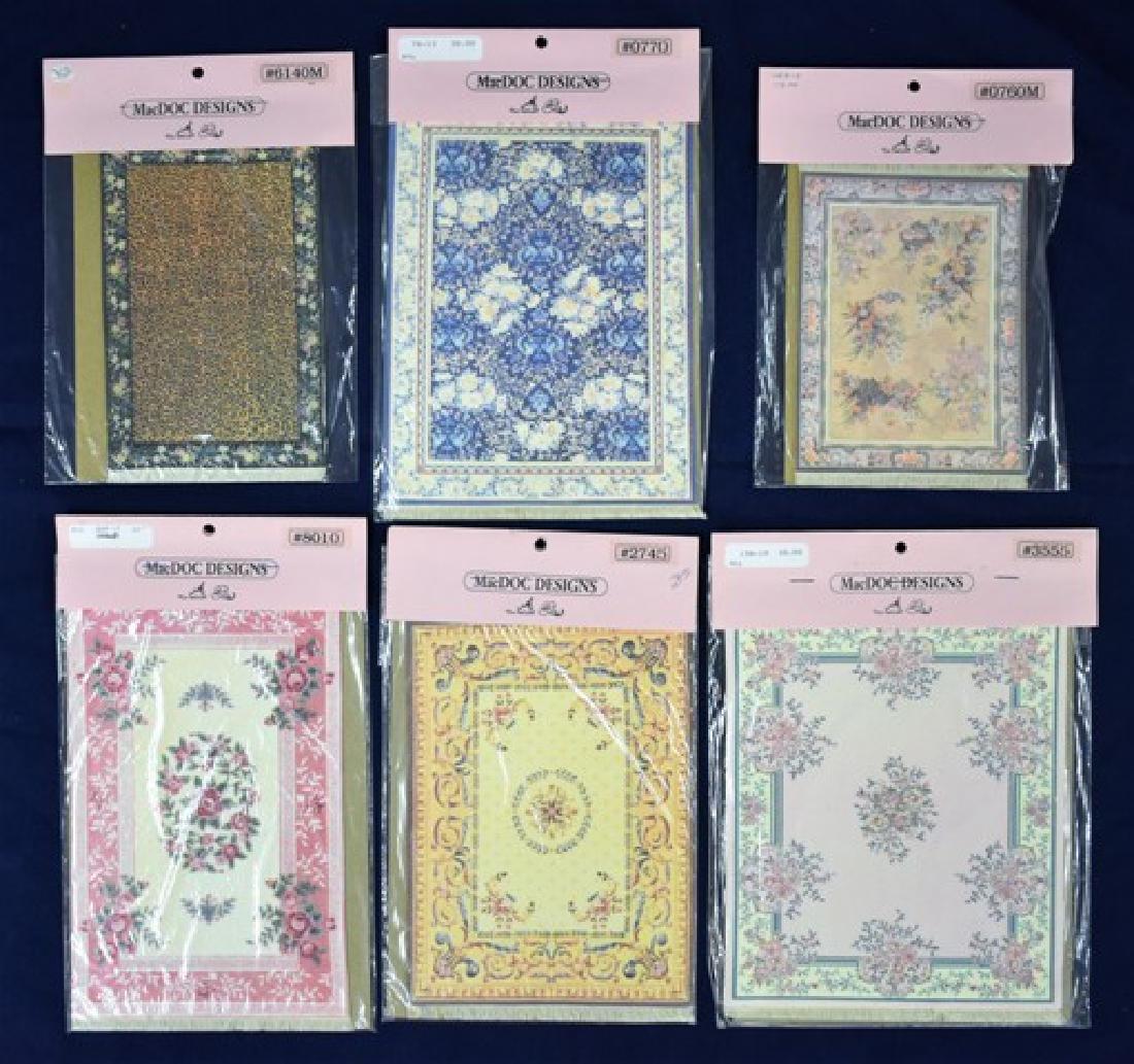 Six MacDOC Design Dollhouse Rugs Miniatures