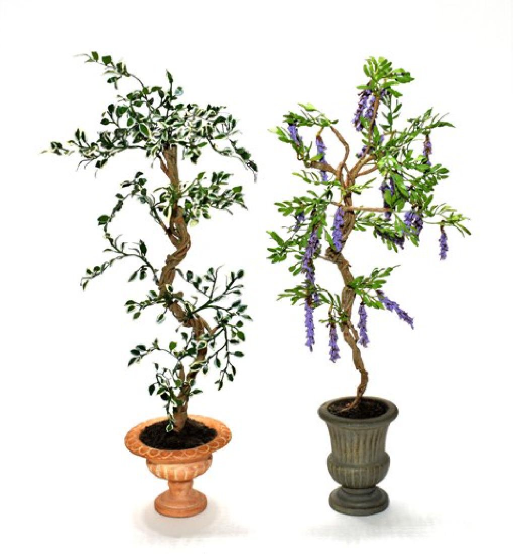 Pair of Gill Rawlings Dollhouse Artisan Trees