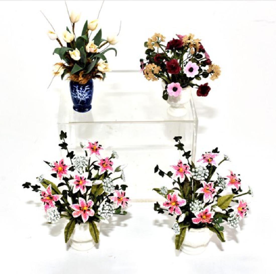 Four Ginger Wyatt Artisan Dollhouse Flower Pots