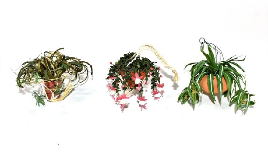 Three Artisan Dollhouse Hanging Plants Miniatures