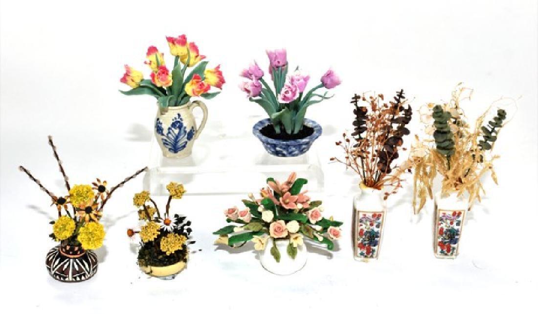 Seven Dollhouse Artisan Plants Miniatures