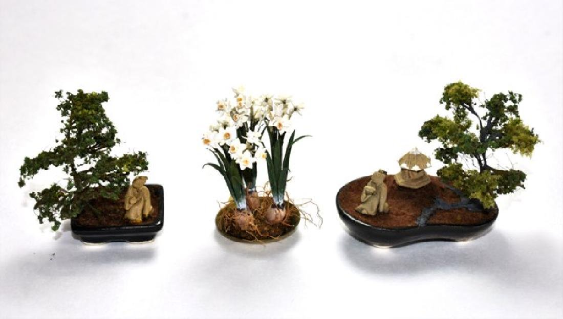Three Asian Style Dollhouse Flowers Miniatures