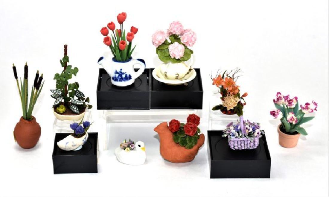 Ten Dollhouse Small Plants Miniatures