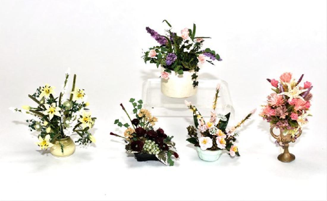 Five Artisan Dollhouse Flower Arrangements Miniatures