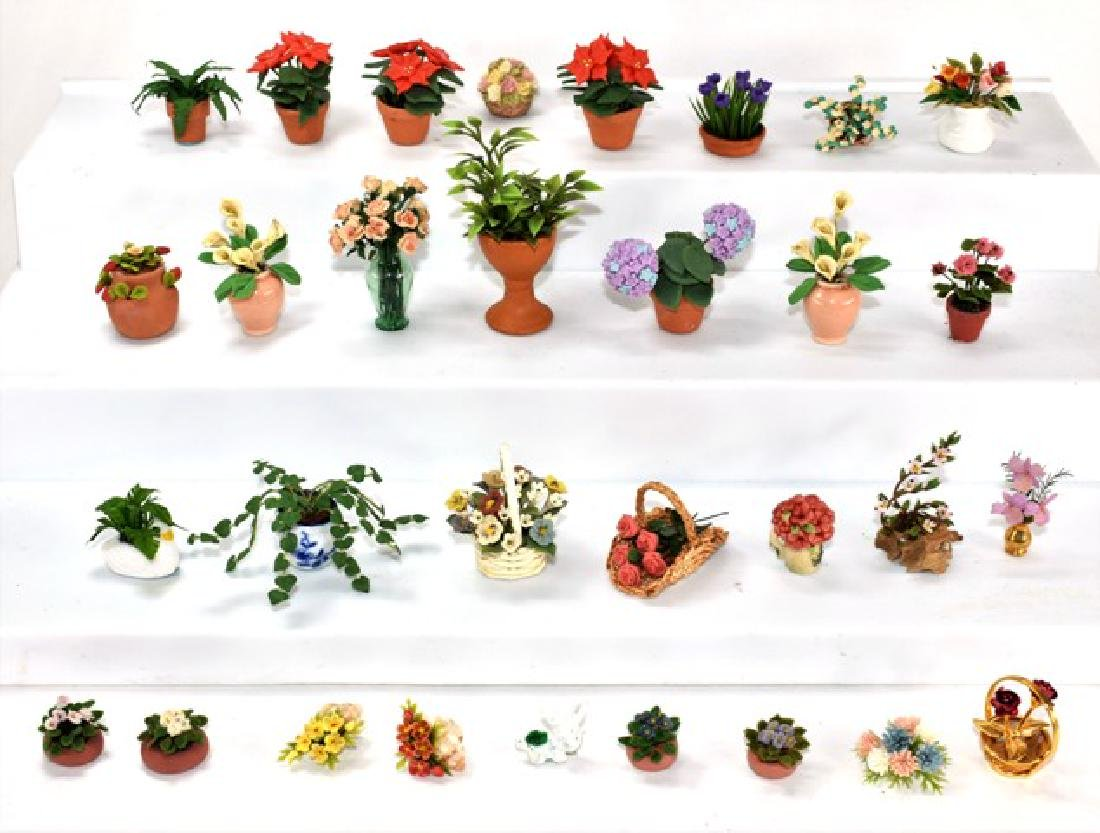Thirty Small Dollhouse Plants Miniatures