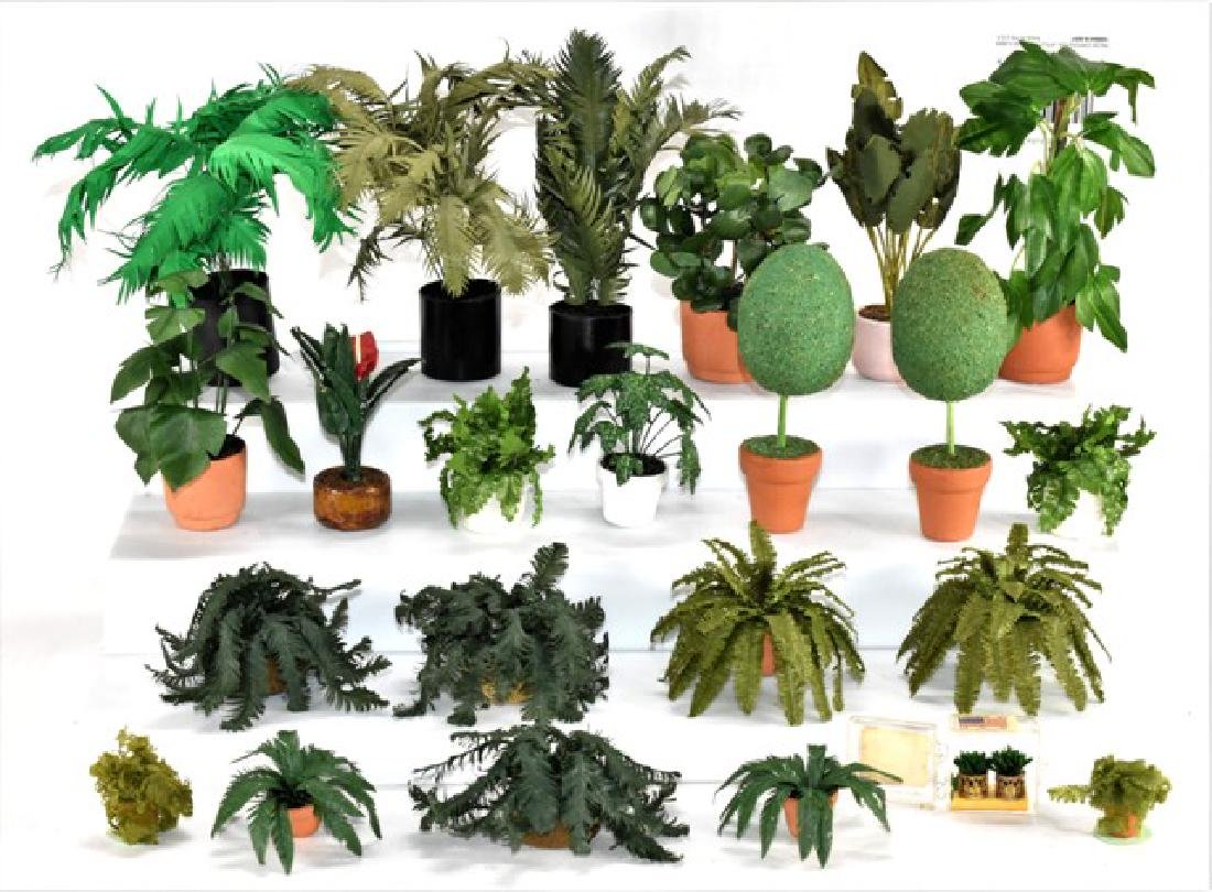 Large Group of Dollhouse Ferns and Palms Miniatures