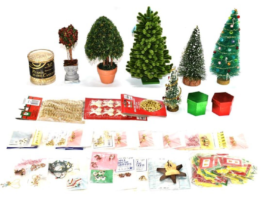 Large Group of Dollhouse Xmas Trees & Decorations
