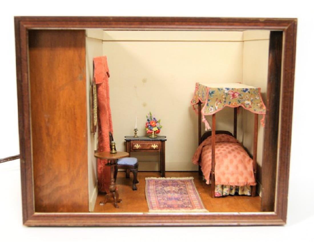 Vintage Small Single Bedroom Box Dollhouse
