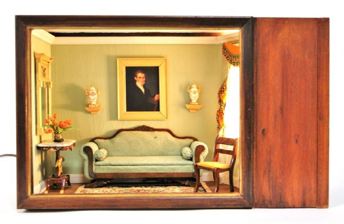 Vintage Victorian Small Living Room Box Dollhouse