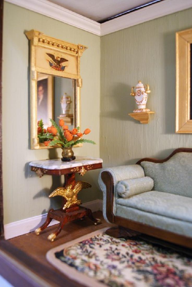 Vintage Victorian Small Living Room Box Dollhouse - 2