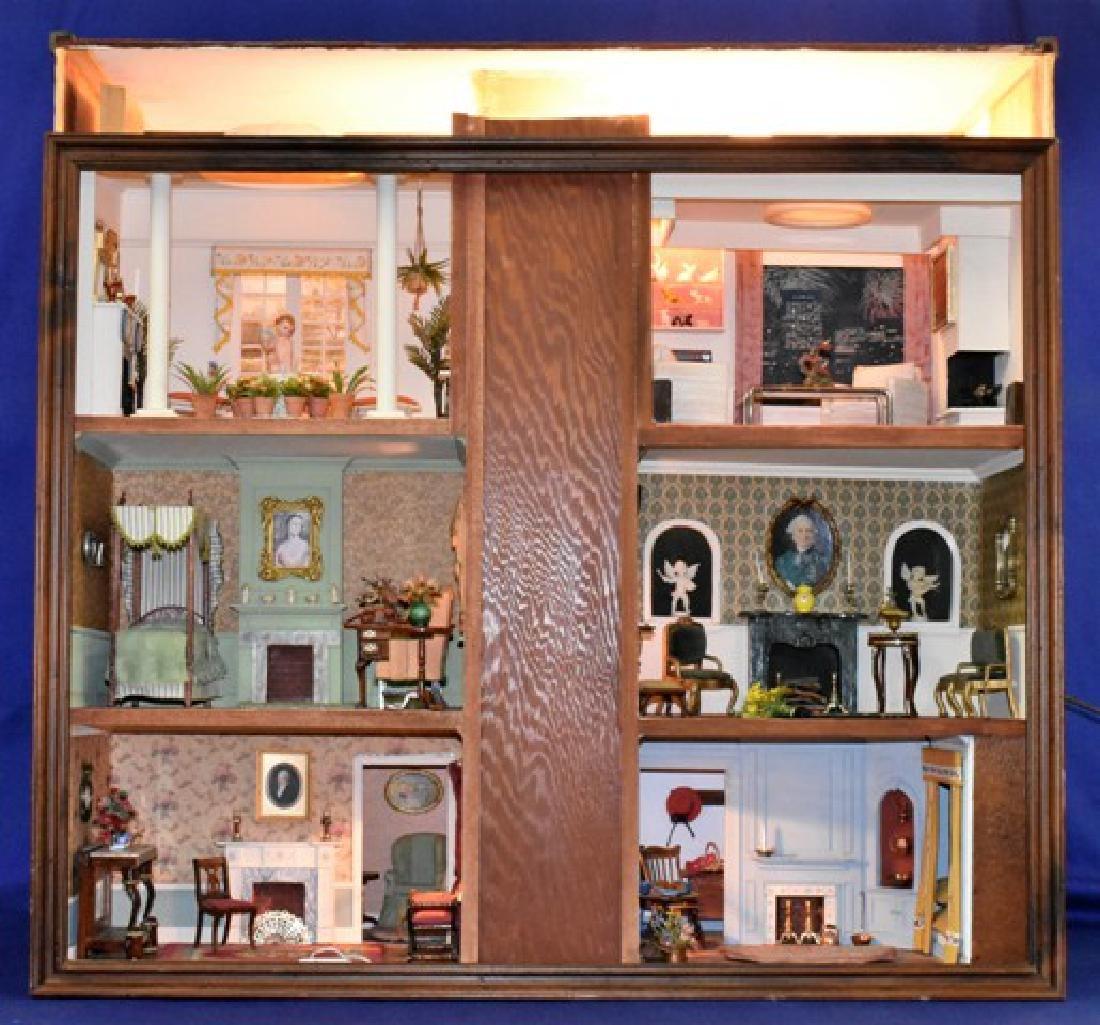 Vintage Six Room Room Box Dollhouse
