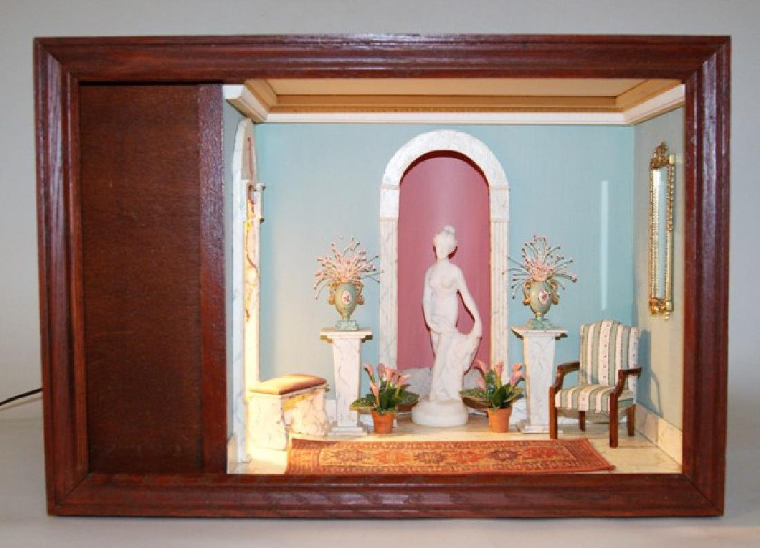 Vintage Small Neo-Classical Room Box Dollhouse