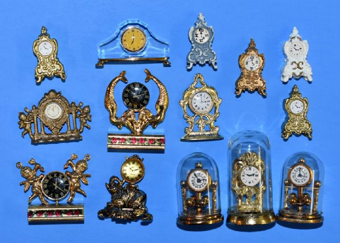 Swarovski & Others Glass & Metal Dollhouse Clocks