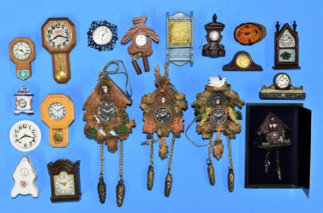 Large group of Commercial Dollhouse Clocks Miniatures