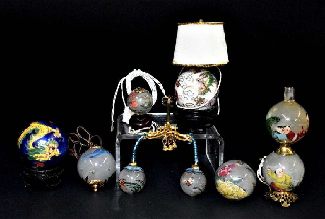 Reverse Painted & Cloissone Dollhouse Lighting