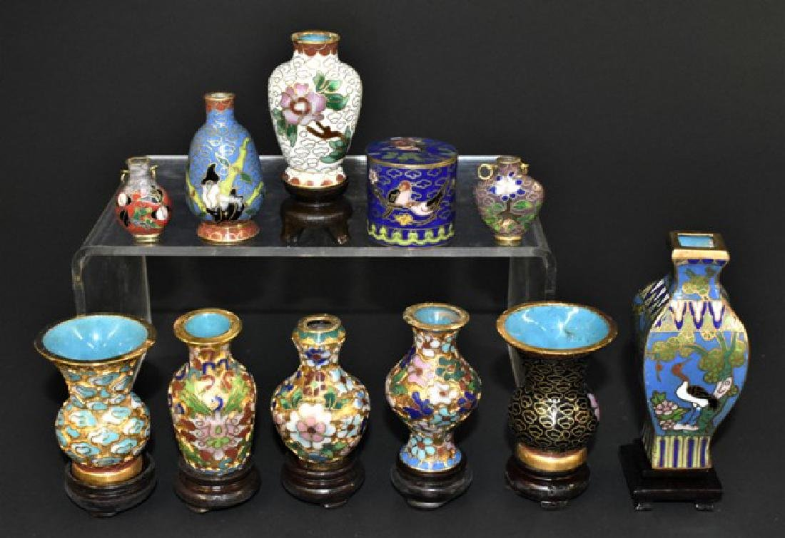 Cloissone Vases & Box Dollhouse Miniatures