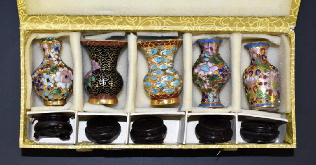 Cloissone Vases & Box Dollhouse Miniatures - 2