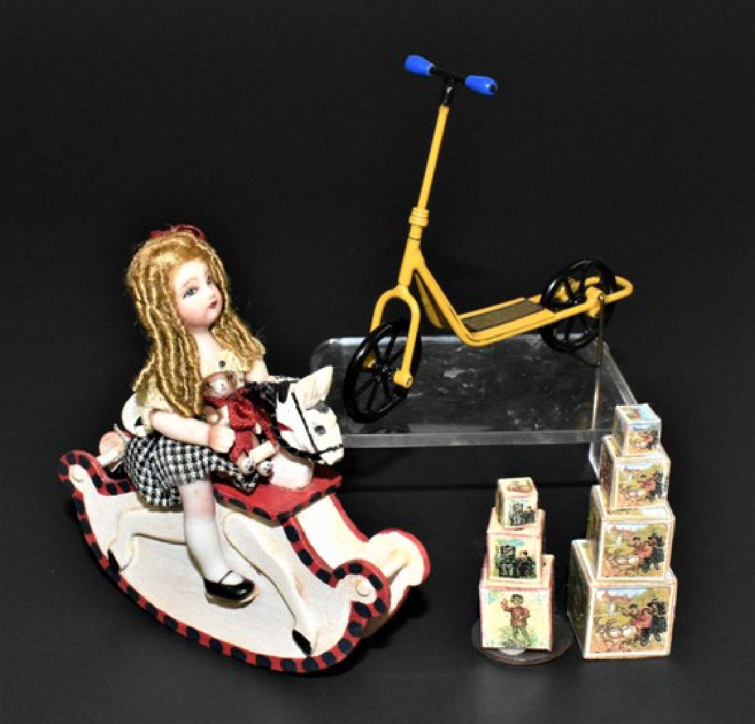 Lynn McEntire Bisque Doll on Rocking Horse Dollhouse