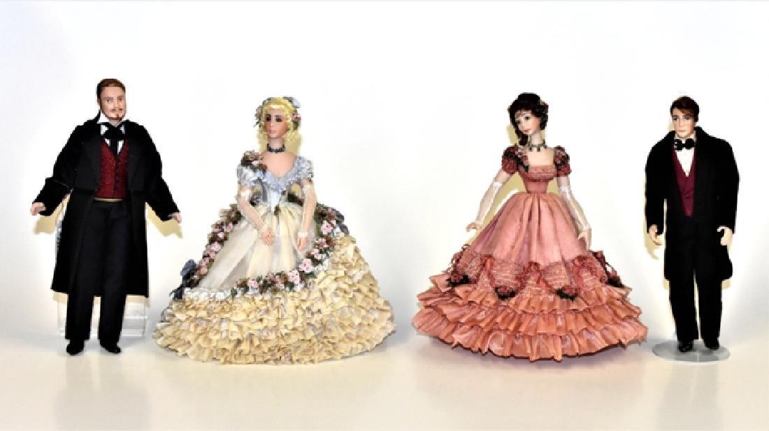 Four Bisque Dollhouse Dolls Miniatures