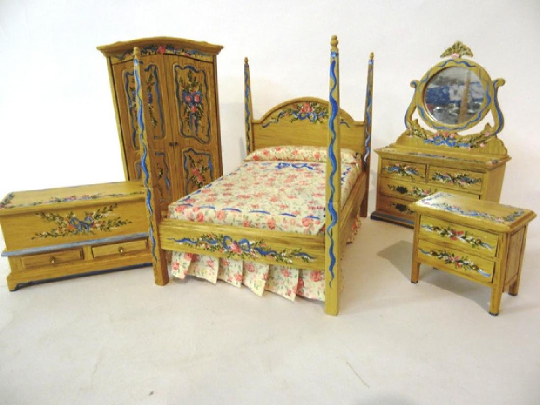 Cottage Bedroom Set Painted by Pasic Dollhouse  Set