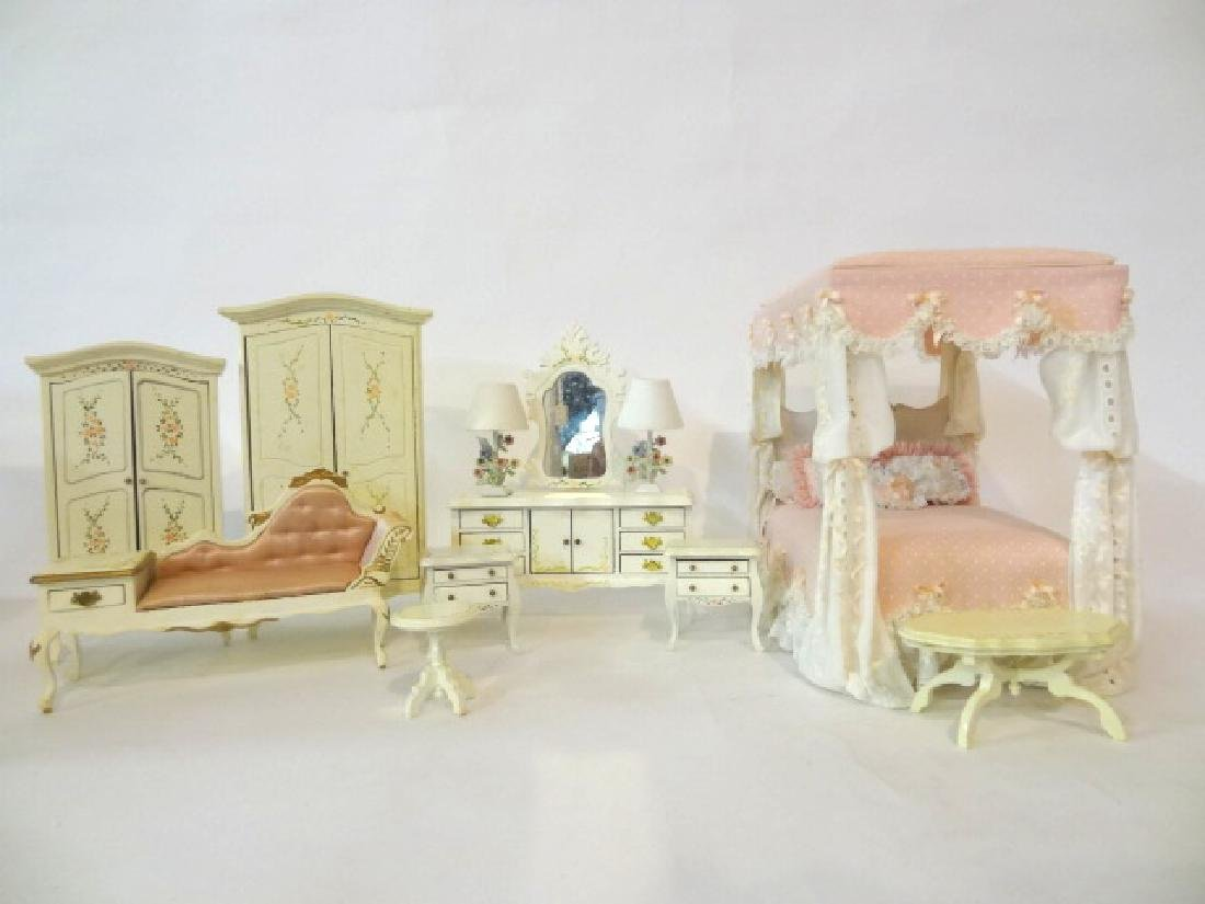 Carol Young Pink Canopy Bed and Floral Painted