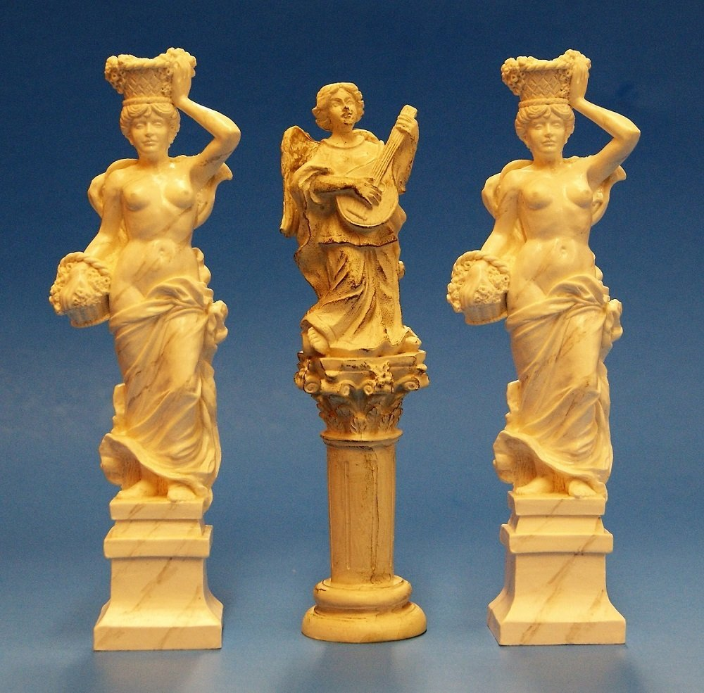 Three Singing Tree Marble Style Dollhouse Maidens - 3