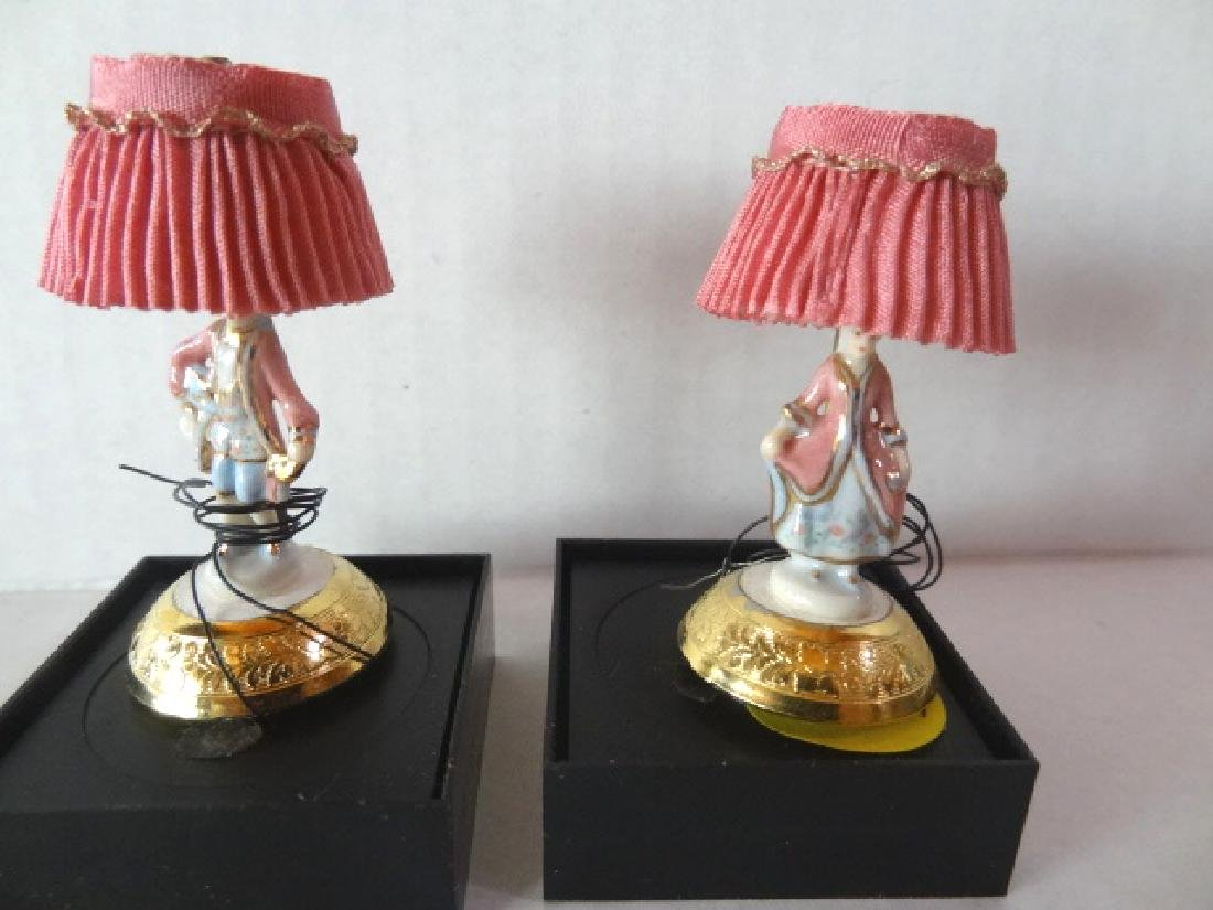 Pair Betty Neiswinder Lamps Dollhouse Miniatures