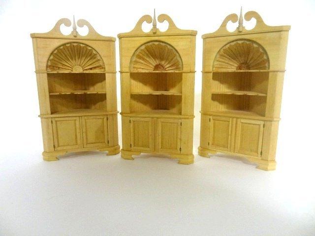 Edward Norton 3 Pine Corner Cabinets For Dollhouse
