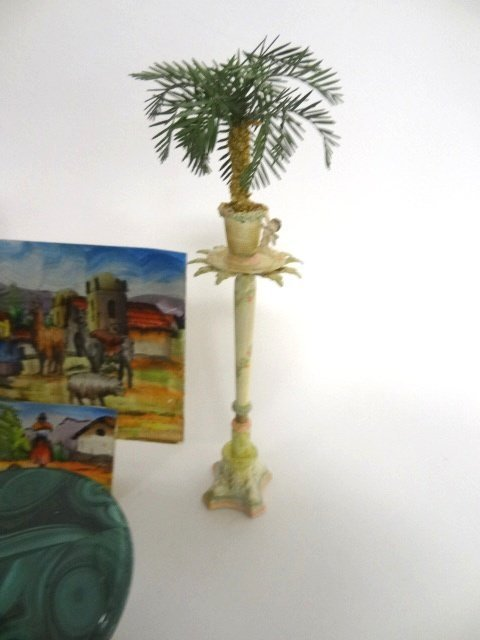 David Ward Pedestal with Palm Urns For Dollhouse - 2